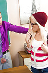Teen golden-haired Halle Von is blowing her teacher\'s phallus barely for note