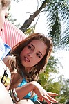 Hot coeds Ella Milano & Melanie Rios have some woman-on-woman pleasure outdoor