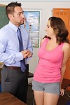 Curvy coed Chrissy Nova gets penetrated by her educator up against a chalkboard