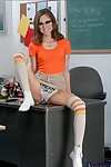 Passionate coed in glasses Riley Reid showing off her skinny body