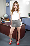 Secretary Jillian Janson way in doggy style pose on the table