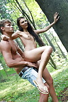 Lecherous coed with smooth head fur pie gives a oral play and attains fucked outdoor