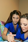 Gratifying brown hair doll teaching her younger ally how to stroke a phallus