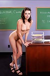 Slutty college babe in glasses Missy Stone strips exposed and masturbates