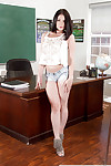 Coed pretty Amanda Lane struts in teachers office wearing denim underwear