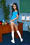 Skinny college gal in glasses Marissa Mendoza striptease from underclothes