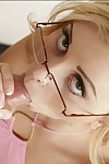 Appealing coed in glasses Jessie Rogers acquires her cum-hole licked and nailed