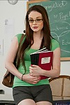 Shy college doll in glasses Tessa Lane gets undressed and positions at school
