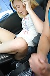Pretty infant coed Lucy Tyler jerking off bald cum-hole in car