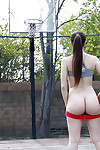 Appealing coed Alexis Rodriguez striptease and amplifying on public bb court