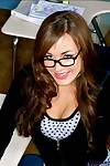 Horny coed in glasses Jaclyn Model brings out tits and bawdy cleft in kind