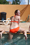 Hungry cock-hunters in bikinis participate a dedicated groupsex at the pool munch