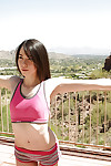Steaming coed girl Emily Grey does yoga exercises entirely stripped