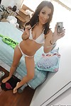 Clammy coed Sasha Hall erotic dancing and swelling her legs in front of the mirror