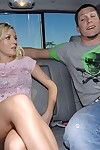 Sexual fairy-haired coed Kylee Reese gives a deepthroat fellatio in the car