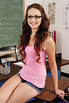 Smiley coed in glasses Keegan Chillz undressing and swelling her legs