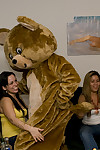 Covered lasses have their gorges owned intense by a dancing bear on a get-together