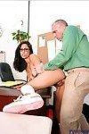 Hot coed in glasses Reena Sky naked to socks and banged on the table