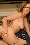 Salacious coed in glasses Izzy Taylor gives a titjob and accepts group-bonked hardcore