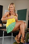 Lovesome college angel with attractive pigtails Nicole Aniston strips in class