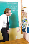 Coed in glasses with miniature milk shakes Samantha Rone blowjobs strict educator
