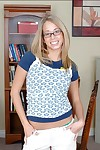 Hot college girl in glasses Ashley Jensen striping stripped and expanding