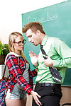 Juvenile in glasses Dakota James is engulfing her hardcore teacher\'s jock