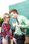 Juvenile in glasses Dakota James is engulfing her hardcore teacher\'s jock
