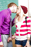 Glamorous young blond Halle Von is blowing her teacher\'s phallus