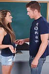 Flirtatious college darling Carmen McCarthy fucks on the teachers desk