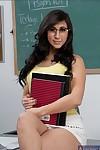 Titsy dark brown coed in glasses Valerie Kay striptease in the way