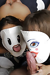 Kinky sweetheart Kimmy Granger and girlfriend don masks ahead of taking in shlong