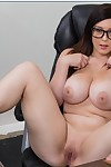Breasty coed in glasses Noelle Easton erotic dancing and expanding her legs