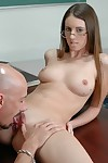 Marvelous coed in glasses Sabrina Lewis gives blowjob and rides massive jock