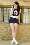 18 year old schoolgirl Jessica-Ann Fegan having smoke in cheerleader outfit
