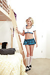 Schoolgirl cutie Dakota Skye positions in white socks and short skirt