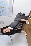 Dark hair schoolgirl Tanya Tolman posing in OTK socks