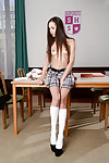 Just legal model Abril removing school uniform to pose in without clothes