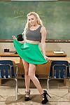 Blonde pornstar Lexi Belle masturbates schoolgirl snatch in classroom