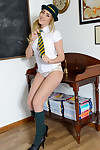 Gorgeous schoolgirl Lucy-Anne Brooks posing non without clothes in uniform and hat