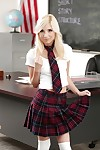 Blonde schoolgirl Piper Perri widening shiny on top young twat in stockings