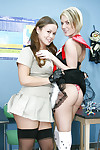 Woman-on-woman schoolgirls Kaci and Riley rug munch in their