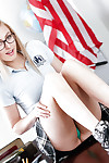 Teen fairy-haired nerd in glasses Alexa Grace posing in schoolgirl uniform