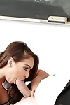Latin cutie pornstar Sara Luvv giving major dong a oral play in schoolgirl uniform