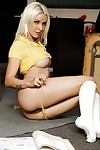 Youthful schoolgirl Stevie Shae is showing her arse in sticky socks