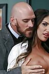 Bosomy schoolgirl pornstar August Ames engaging teacher\'s heavy cock on desk
