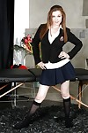 Virginal schoolgirl Penny Brooks erotic dance off school uniform