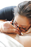 Hungry Asian schoolgirl Morgan Lee licking testicle sac and swallowing shlong