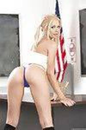 Golden-haired solo girl Riley Steele flashing constricted schoolgirl ass in thong panties