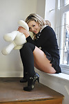 Wild schoolgirl Amy Alexandra undresses and flaunts in opaque socks